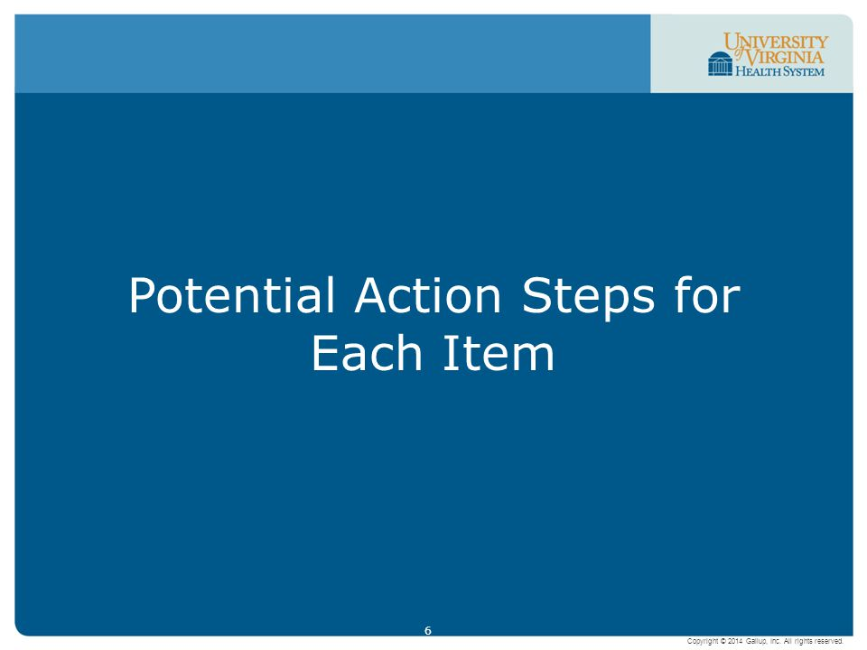 Potential Action Steps for Each Item