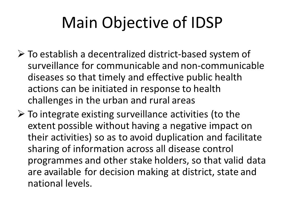 Main Objective of IDSP