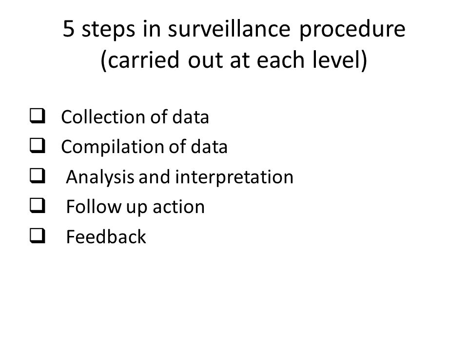 5 steps in surveillance procedure (carried out at each level)