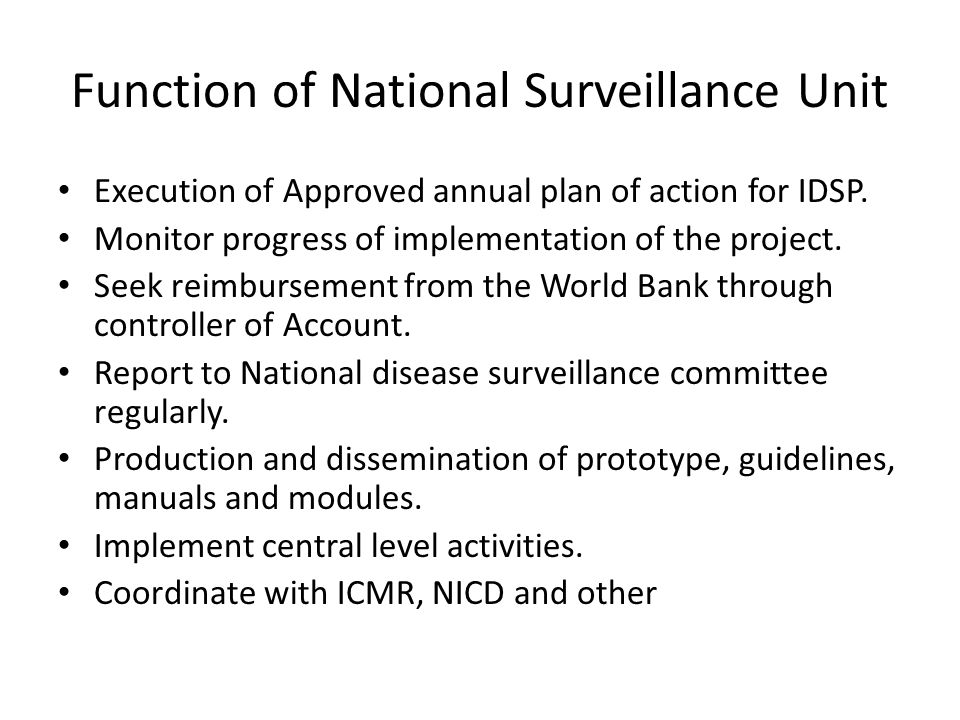 Function of National Surveillance Unit