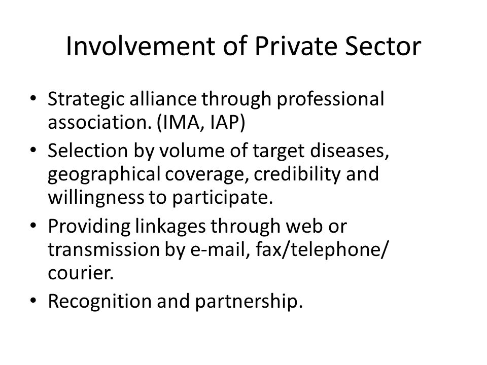 Involvement of Private Sector