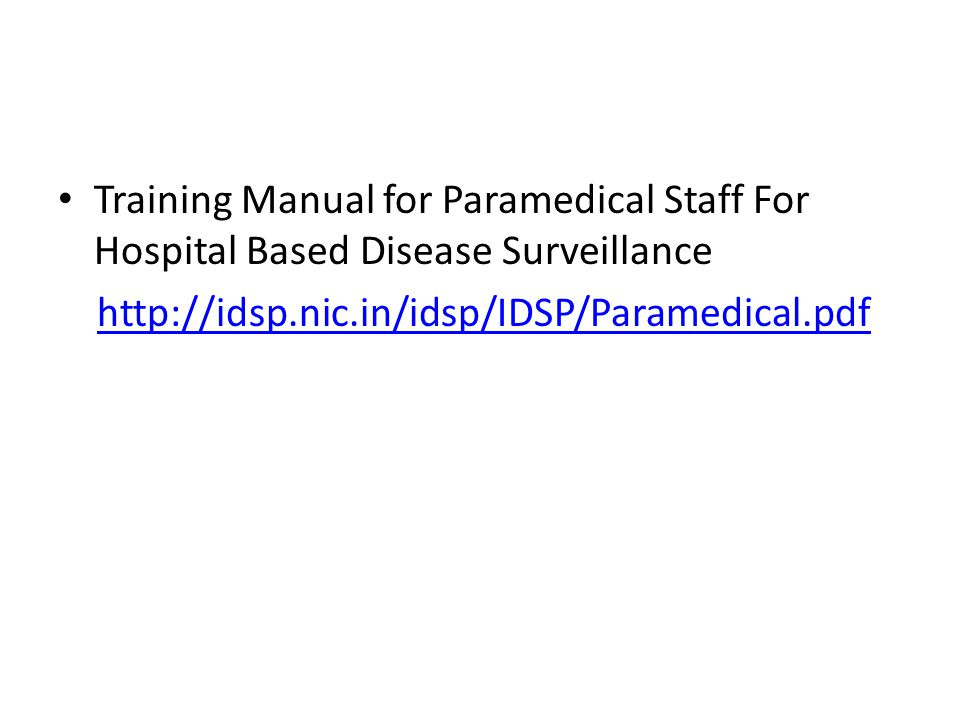 Training Manual for Paramedical Staff For Hospital Based Disease Surveillance