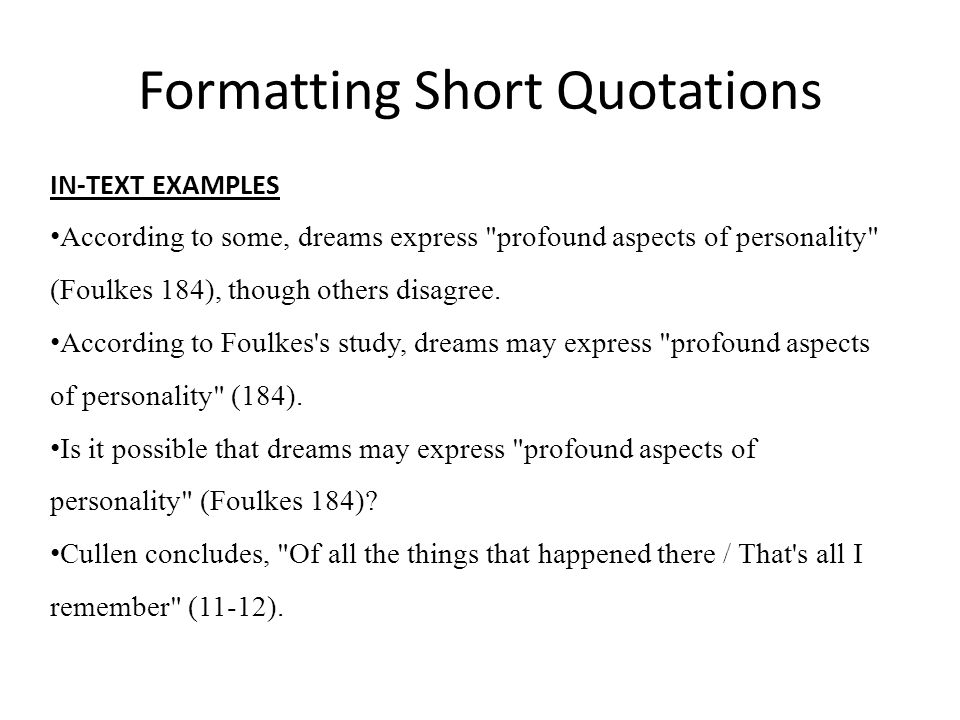 Formatting Short Quotations