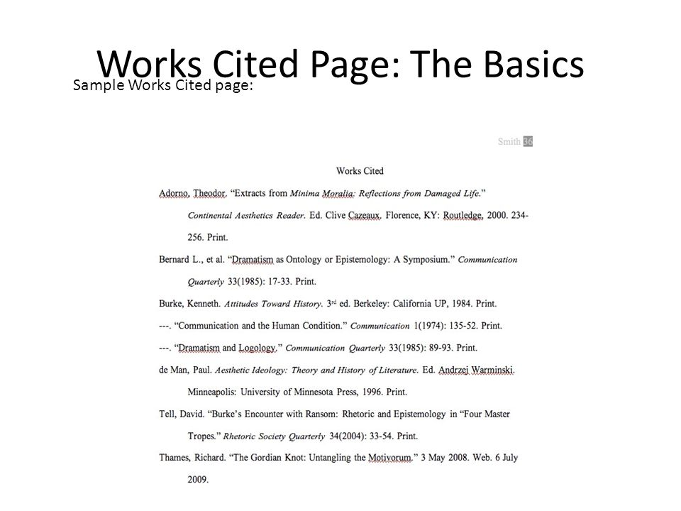 apa format work cited page