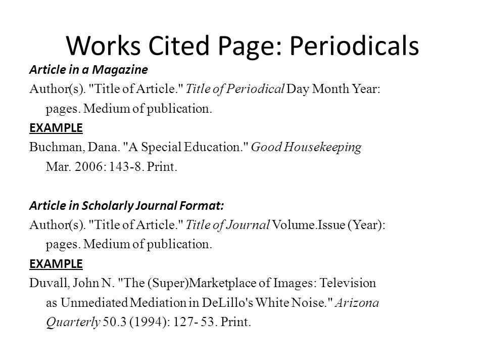 works cited pages for term paper