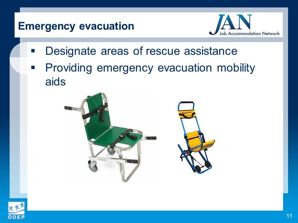 Designate areas of rescue assistance
