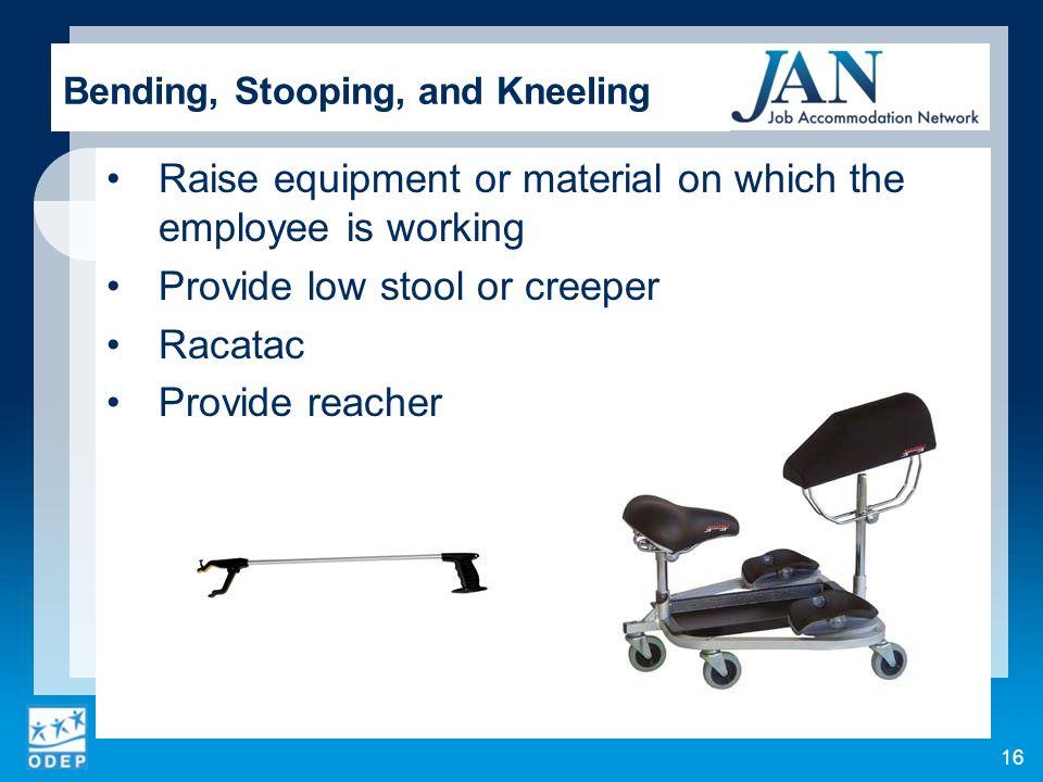Bending, Stooping, and Kneeling