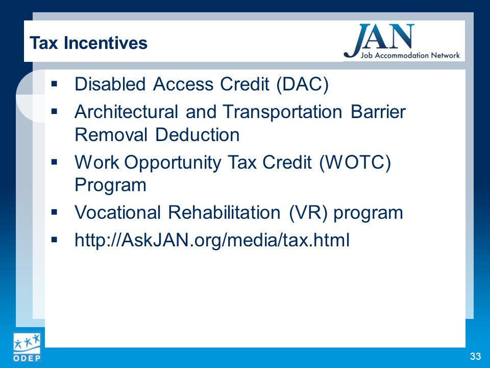 Disabled Access Credit (DAC)