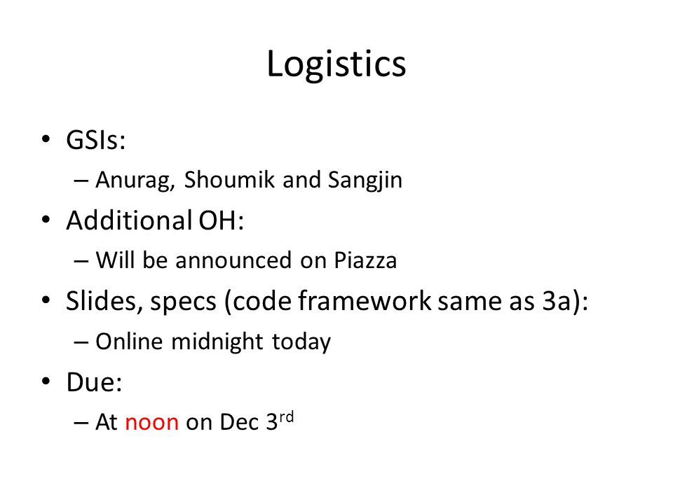 Logistics GSIs: Additional OH:
