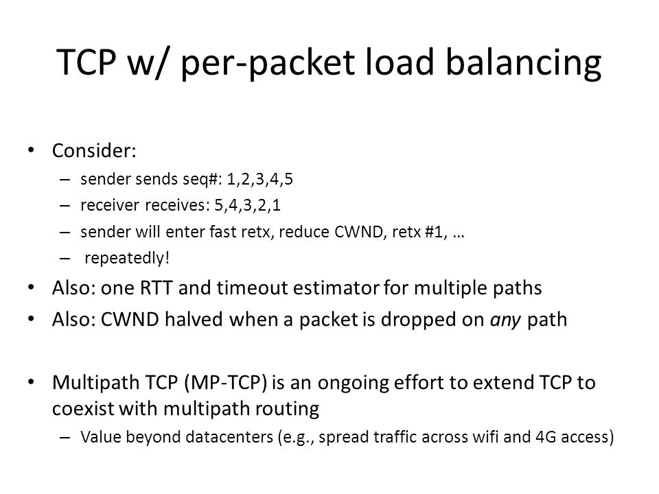 TCP w/ per-packet load balancing