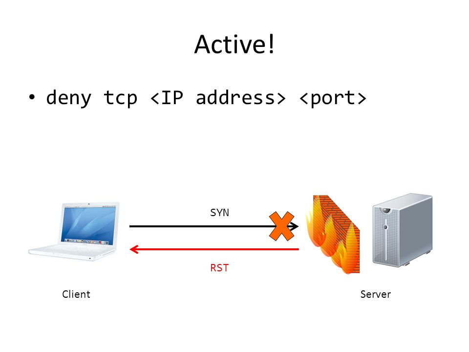 Active! deny tcp <IP address> <port> SYN RST Client Server