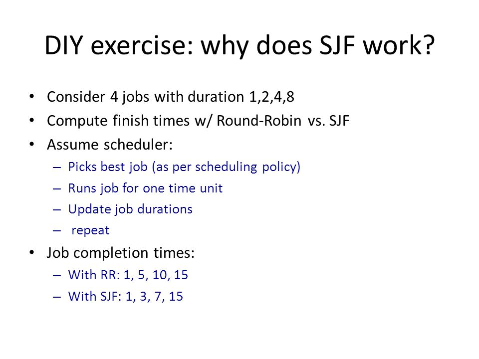 DIY exercise: why does SJF work
