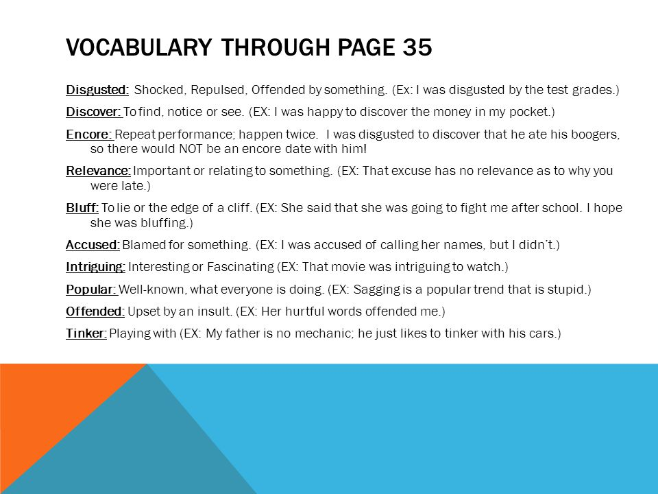 Vocabulary Through Page 35