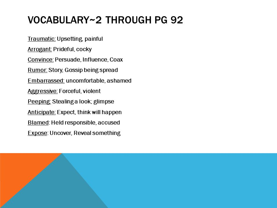 Vocabulary~2 through pg 92