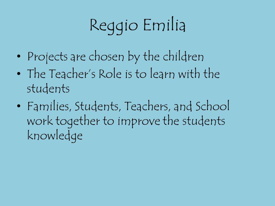 Reggio Emilia Projects are chosen by the children
