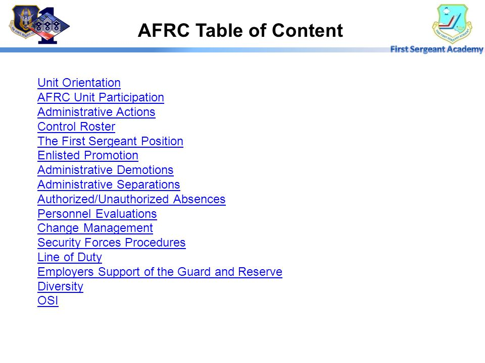 AFRC Table of Content Unit Orientation AFRC Unit Participation