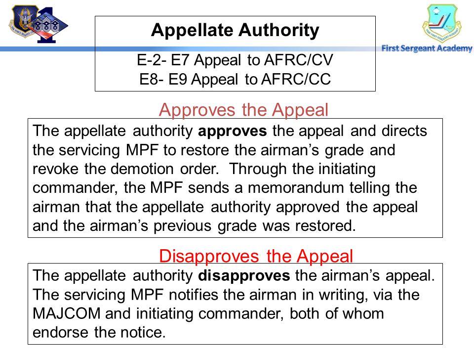 E-2- E7 Appeal to AFRC/CV E8- E9 Appeal to AFRC/CC