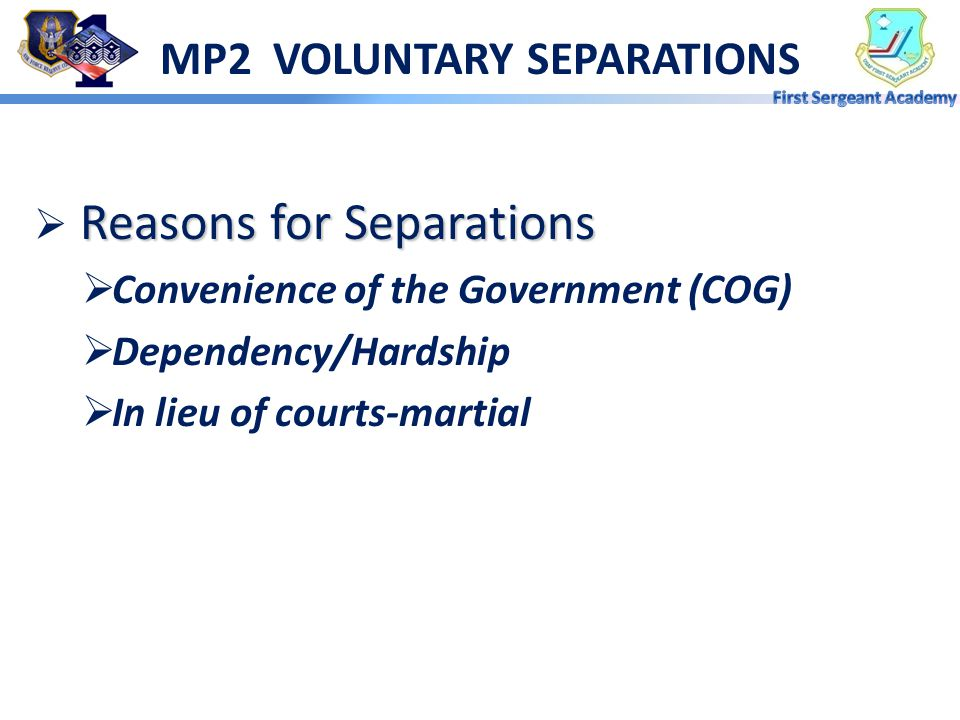 MP2 VOLUNTARY SEPARATIONS