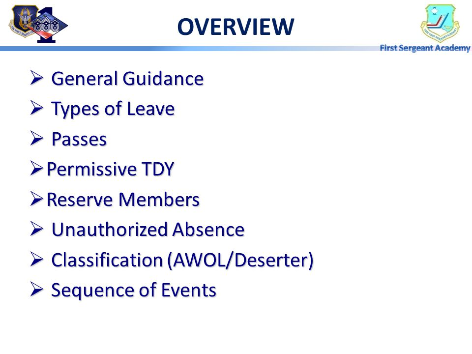 OVERVIEW General Guidance Types of Leave Passes Permissive TDY