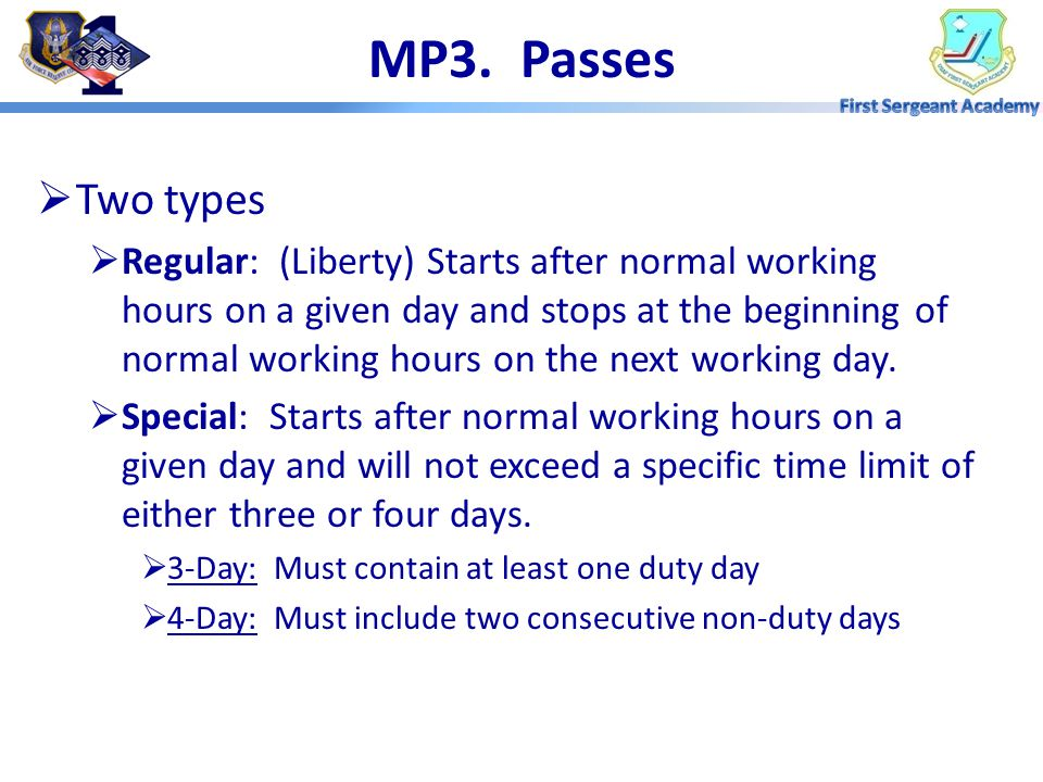 MP3. Passes Two types.
