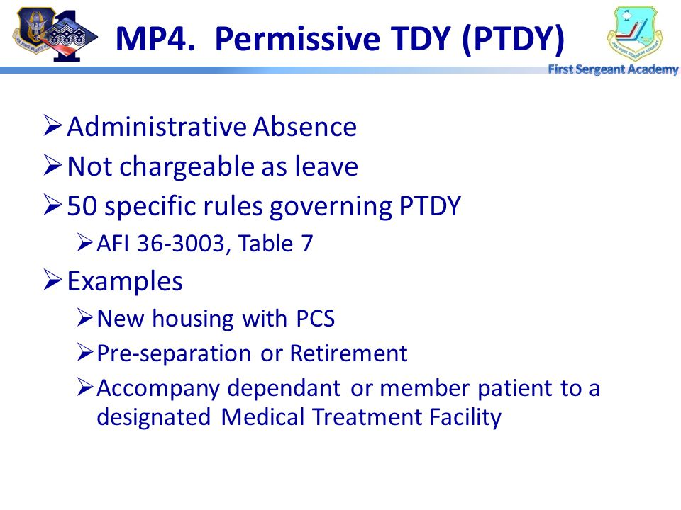 MP4. Permissive TDY (PTDY)