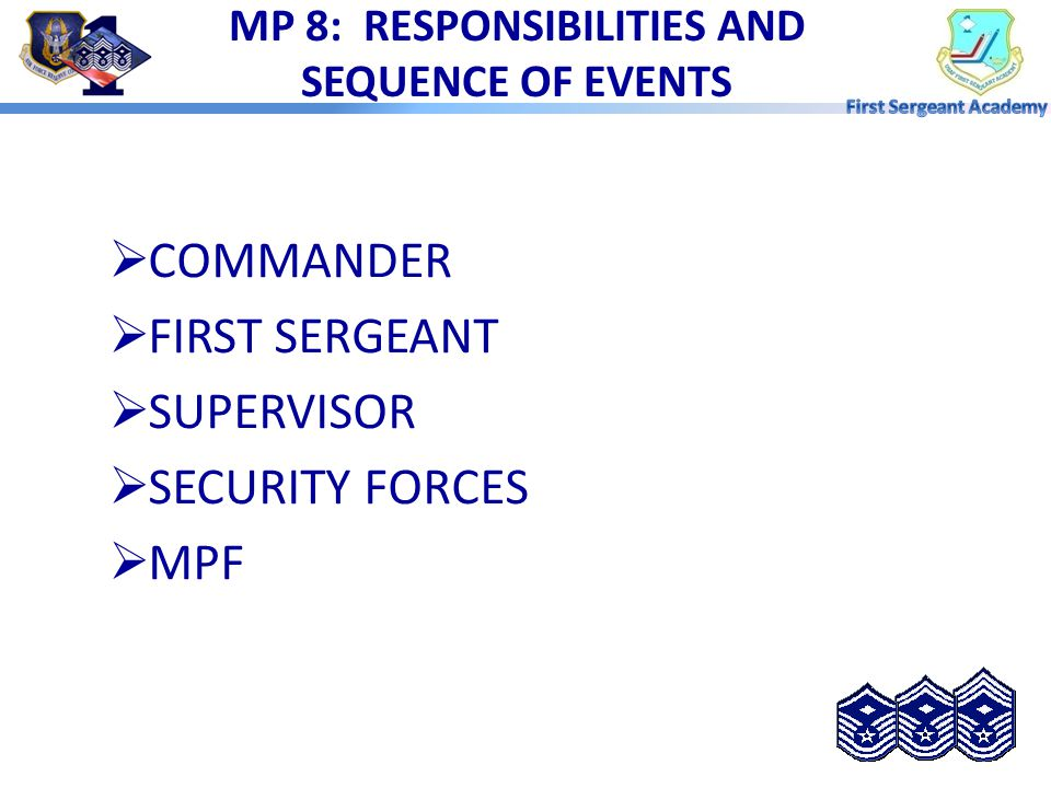 MP 8: RESPONSIBILITIES AND SEQUENCE OF EVENTS