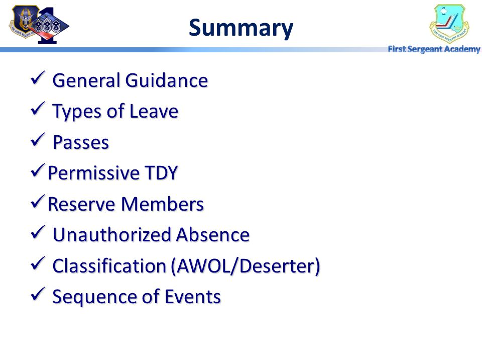 Summary General Guidance Types of Leave Passes Permissive TDY