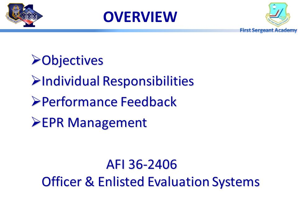 OVERVIEW Objectives Individual Responsibilities Performance Feedback