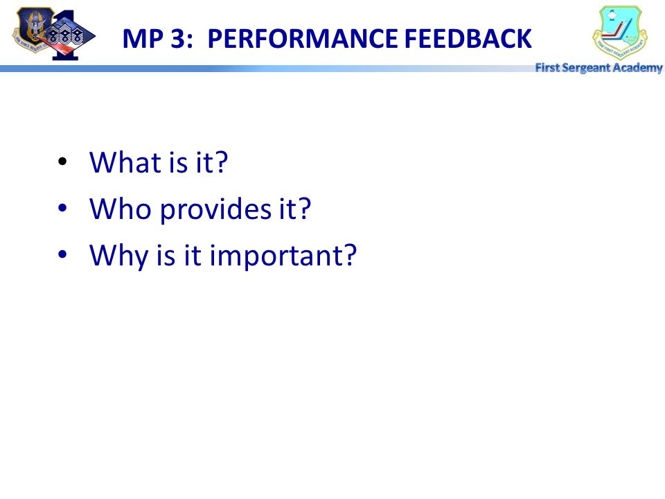 MP 3: PERFORMANCE FEEDBACK