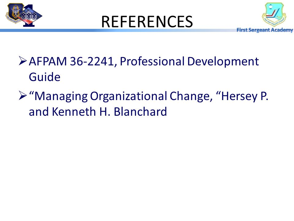 REFERENCES AFPAM 36-2241, Professional Development Guide