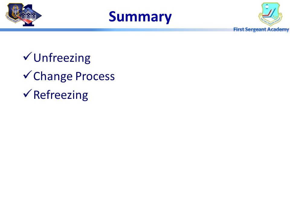 Summary Unfreezing Change Process Refreezing