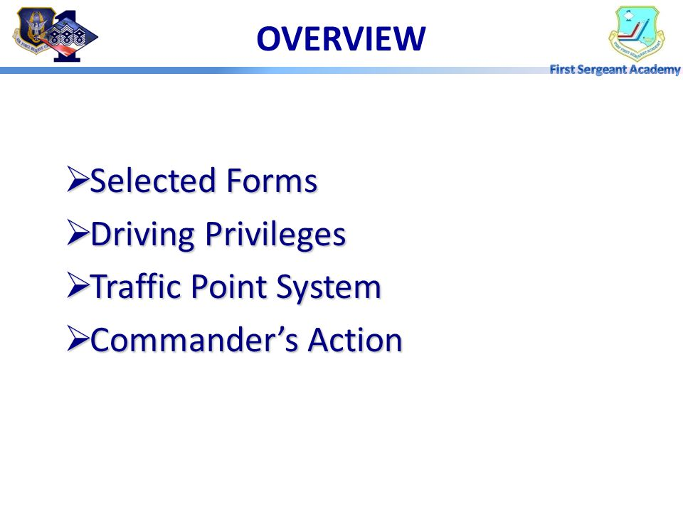 OVERVIEW Selected Forms Driving Privileges Traffic Point System