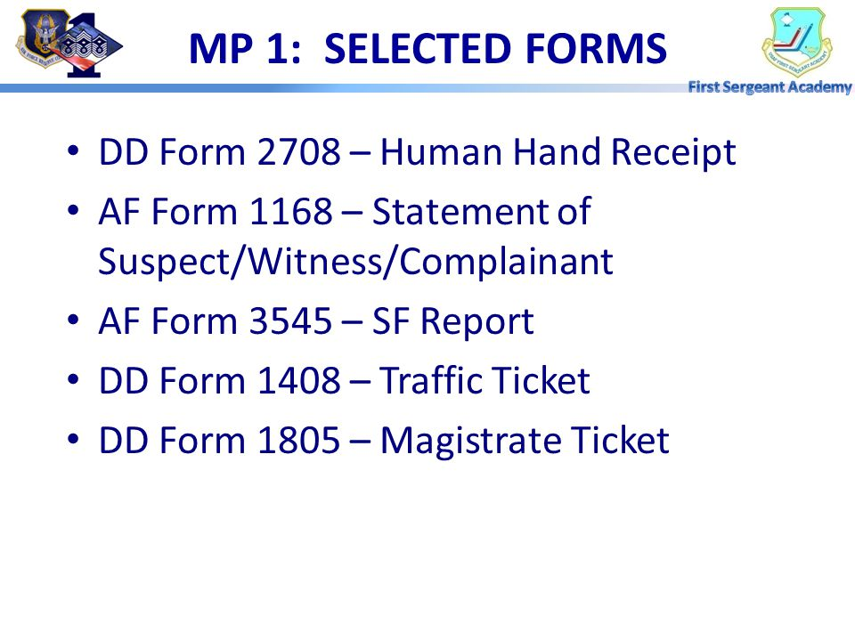MP 1: SELECTED FORMS DD Form 2708 – Human Hand Receipt