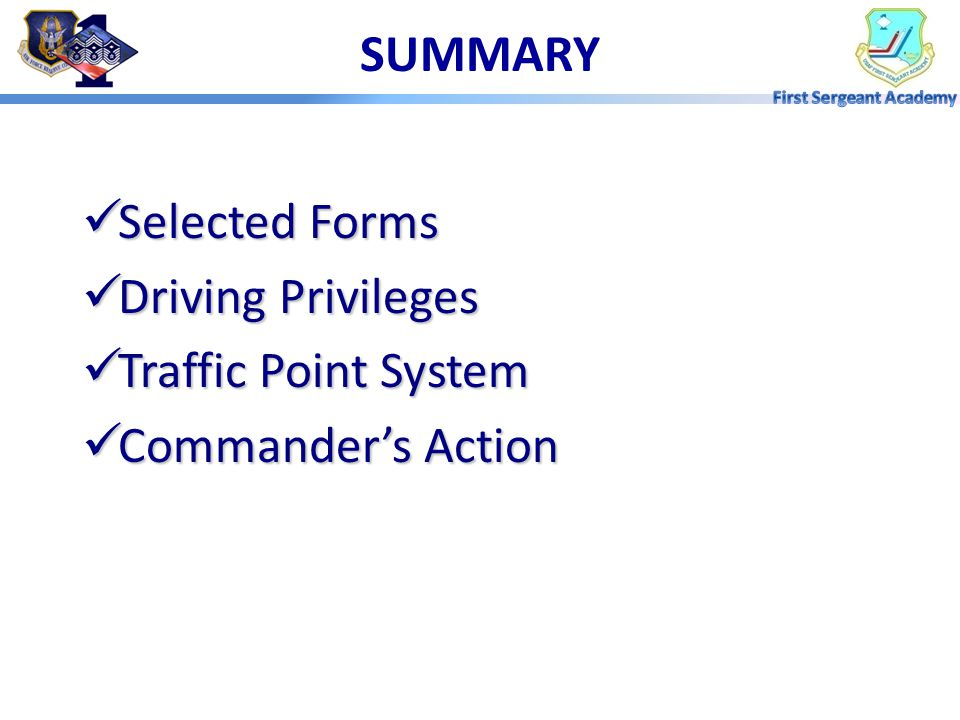 SUMMARY Selected Forms Driving Privileges Traffic Point System