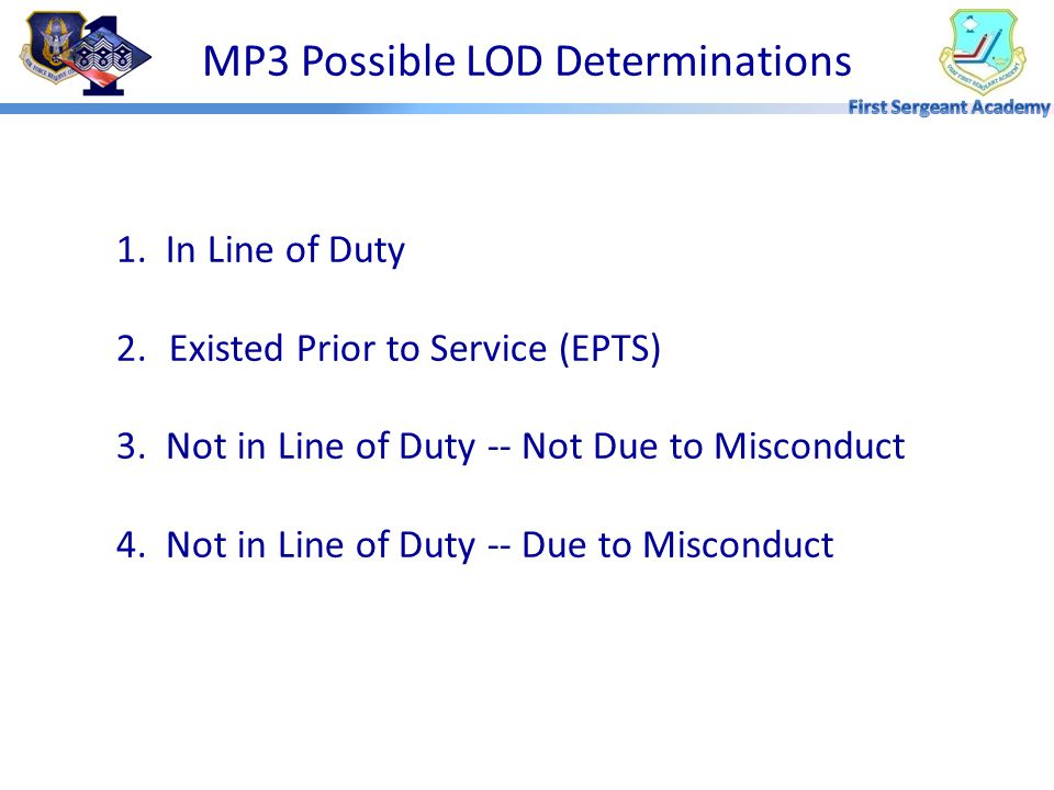 MP3 Possible LOD Determinations