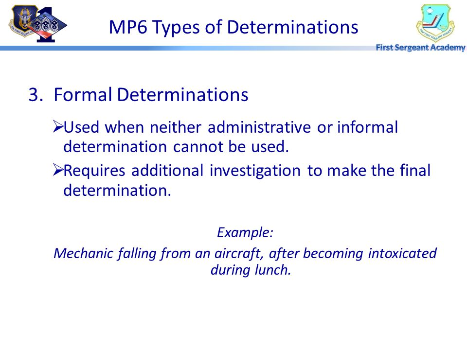 MP6 Types of Determinations