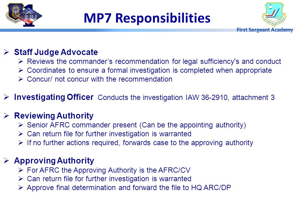 MP7 Responsibilities Staff Judge Advocate