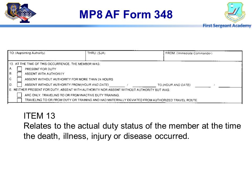 MP8 AF Form 348 ITEM 13.