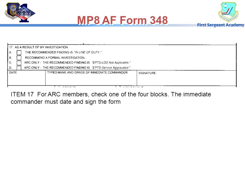 MP8 AF Form 348 ITEM 17 For ARC members, check one of the four blocks.