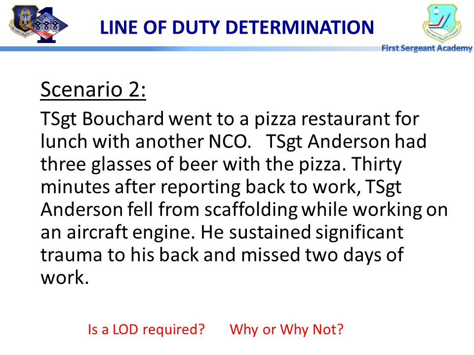 LINE OF DUTY DETERMINATION