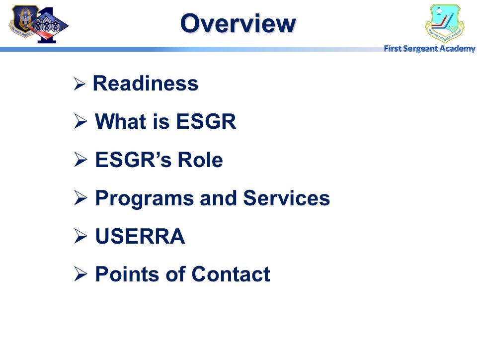 Overview What is ESGR ESGR's Role Programs and Services USERRA