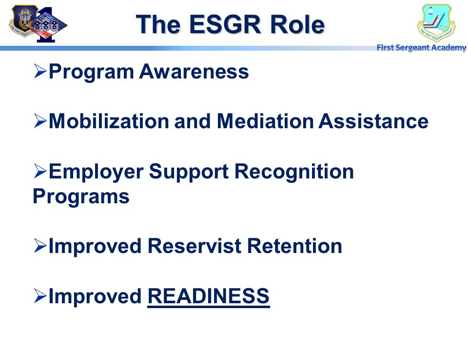The ESGR Role Program Awareness Mobilization and Mediation Assistance