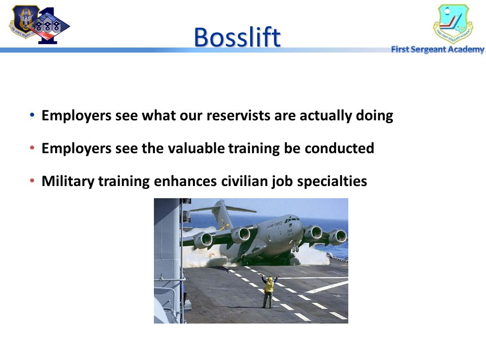 Bosslift Employers see what our reservists are actually doing