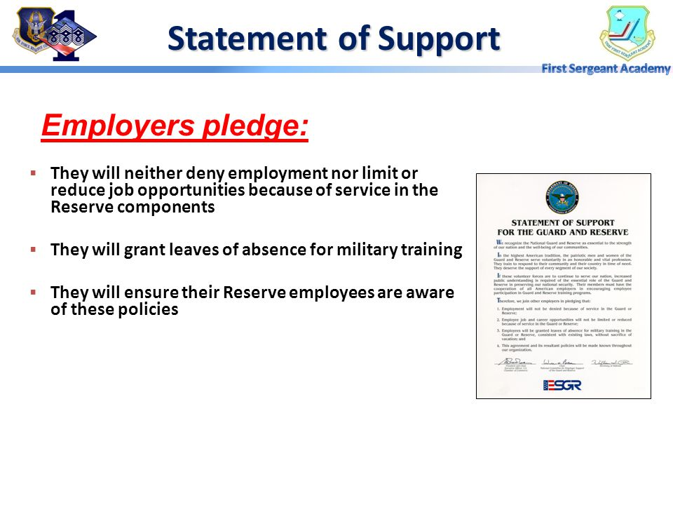 Statement of Support Employers pledge: