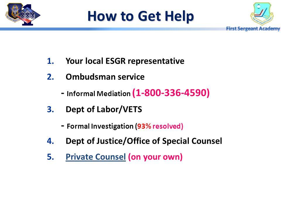 How to Get Help - Informal Mediation (1-800-336-4590)