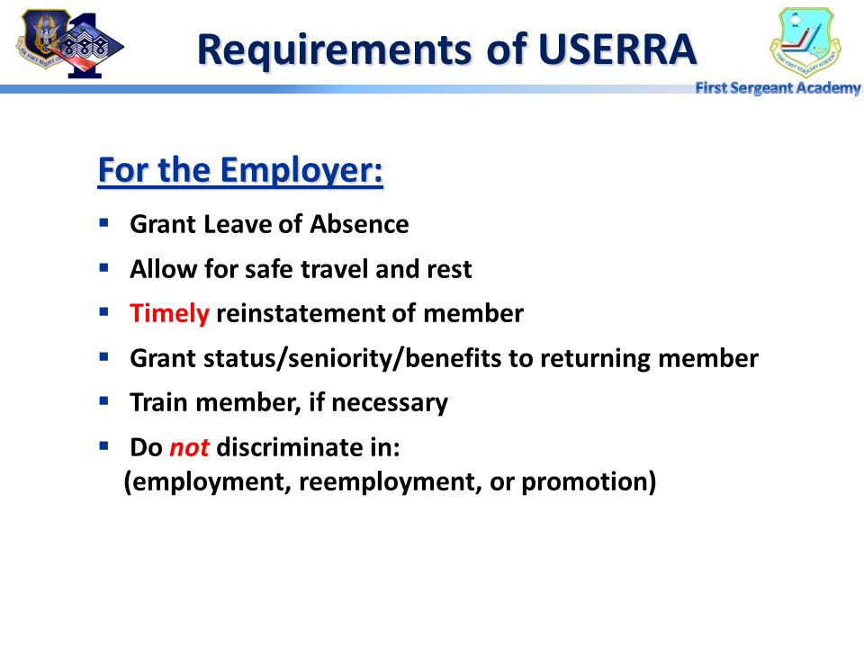 Requirements of USERRA