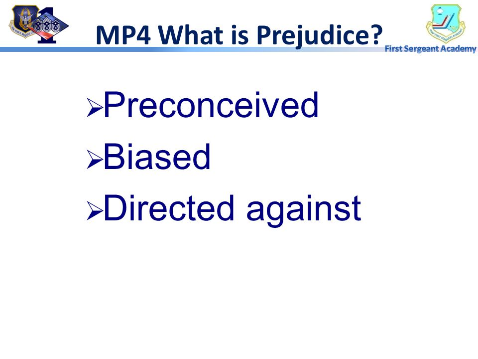 MP4 What is Prejudice Preconceived Biased Directed against