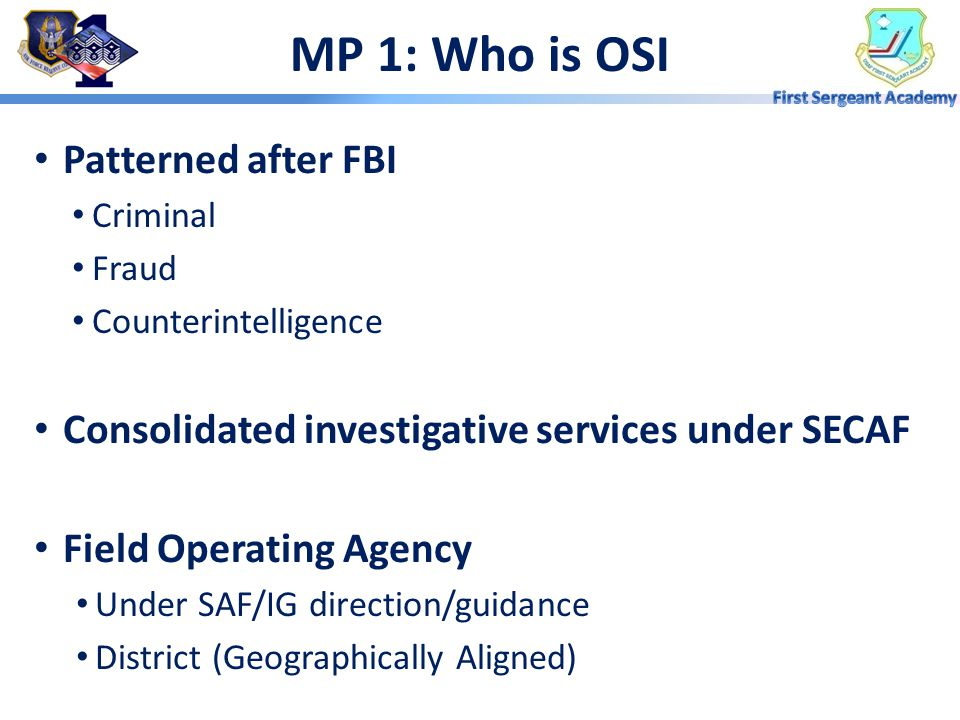 MP 1: Who is OSI Patterned after FBI
