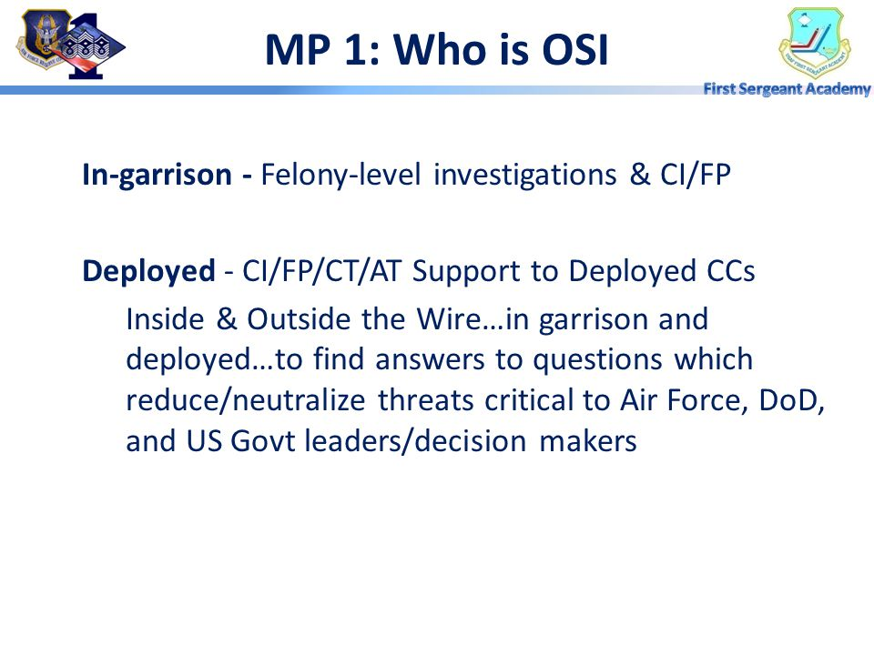 MP 1: Who is OSI In-garrison - Felony-level investigations & CI/FP