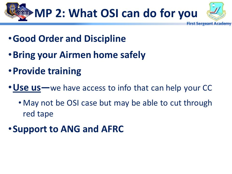 MP 2: What OSI can do for you